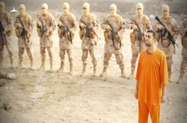 Still image from social media video shows a man purported to be Islamic State captive Jordanian pilot Kasaesbeh